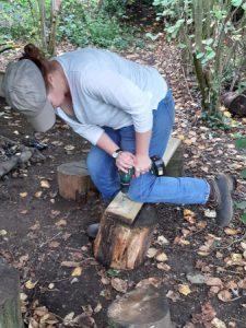 woman making a bench