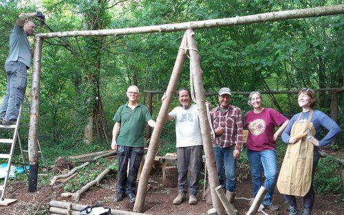 Volunteer shelter raising crew